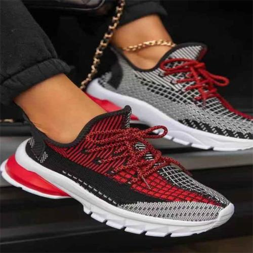 Women's Color-Blocking Design Breathable Low-Top Round-Toe Sports Lightweight Flat Shoes