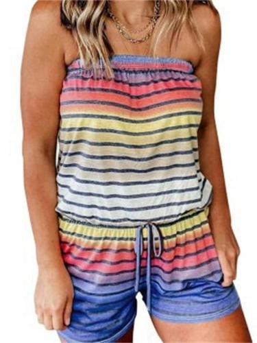 Women's Loose Stripe Design Fashion Strapless Jumpsuit