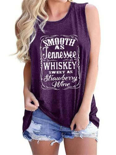 Loose Letter Print Round Neck Sleeveless T-Shirt