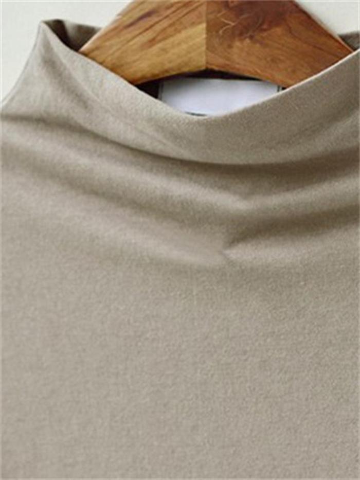 Loose Short-Sleeved Solid Color Mid-Length Half High Neck T-Shirt