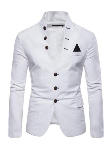Mens Casual Solid Color Stand Collar Buttons Coats Blazers