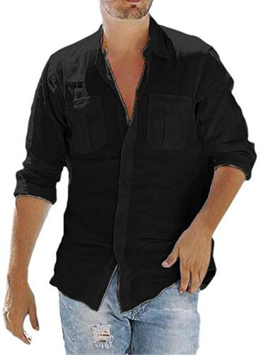 Mens Lightweight Solid Color Linen Casual Shirts