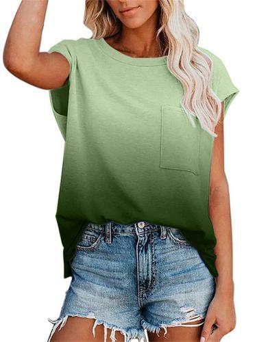 Women's Fashion Short Sleeve Round Neck Gradient T-Shirt