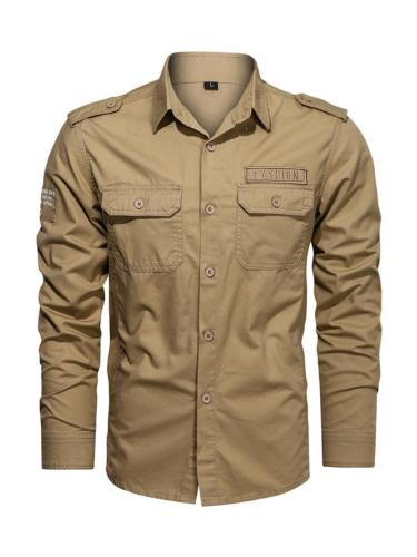 Mens Casual Military Solid Color Cargo Shirts