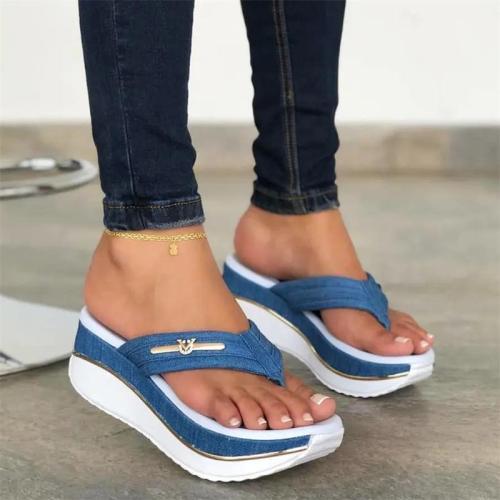 Women's Summer Plus Size Wedge Heel Platform Flip Flops Outdoor Casual Sandals