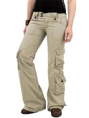Women's Multi-Pocket Loose Straight-Leg Sports Outdoor Solid Color Casual Cargo Pants