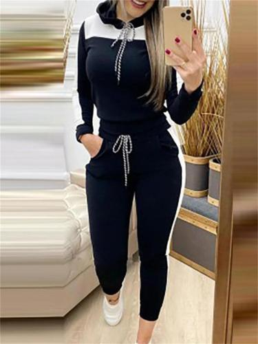 Casual Contrast Color Long-Sleeved Hooded Sweater + Slim Pants