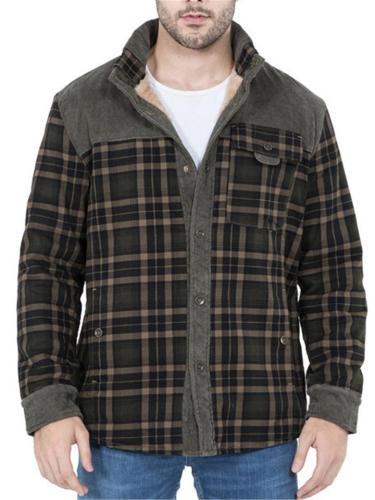 Mens Casual Windproof Plaid Pattern Warm Jackets