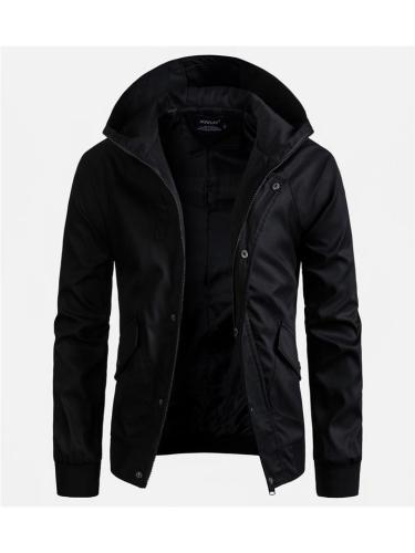Mens Casual Solid Color Hooded Jackets With Pockets