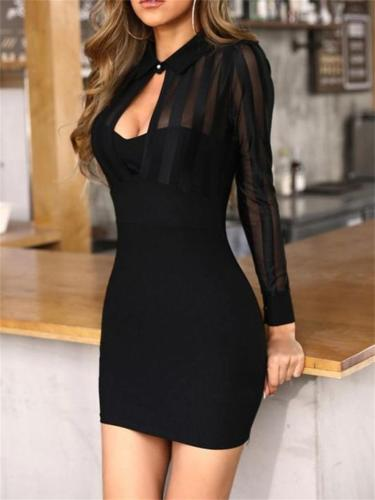 Sexy Mesh Design Solid Color Long-Sleeved Pullover Bodycon Mini Dress