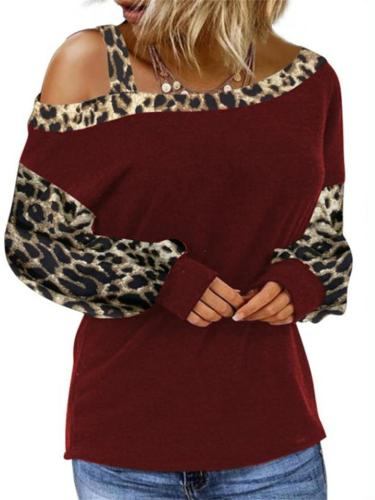 Women's Cuff Stitching Loose Diagonal Collar Pullover Long-Sleeved Leopard Print Top