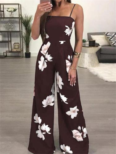 Summer Printed Open Back Sleeveless Strappy Wide-Leg Jumpsuit