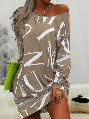 Women's Casual Long-Sleeved Letter Print Round Neck Loose Dress