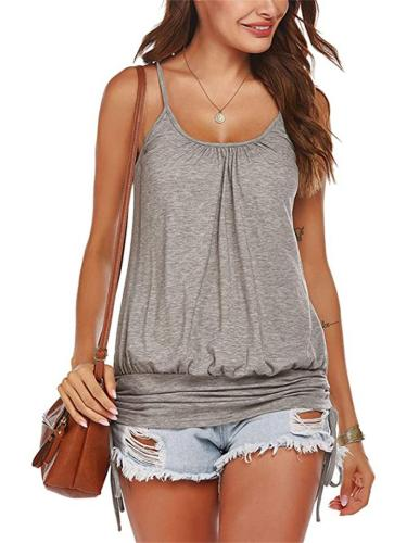 Sexy Printed Slim-Fit Side Drawstring Strappy Tank Top