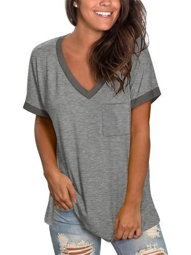 Loose Contrast Ribbed V-Neck Pocket Short-Sleeved T-Shirt