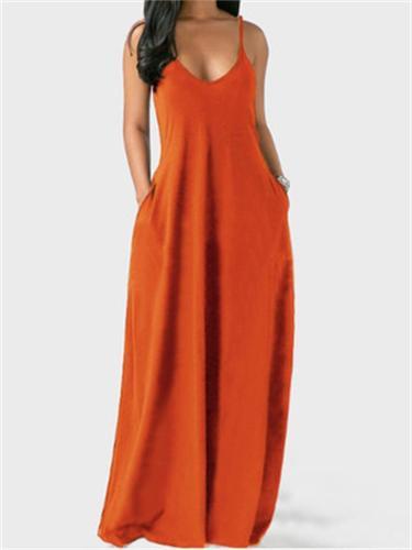 Women's Sexy Adjustable Shoulder Strap Design Solid Color Deep V-Neck Strappy Dress