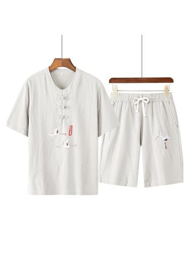 Mens Breathable Linen Knitted Short Sleeve T-Shirts+Shorts