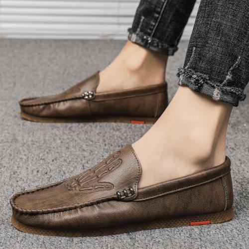 Mens Wearable Comfy Soft Casual Print Leather Loafers