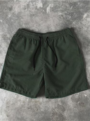 Mens Casual Comfy Soft Solid Color Drawstring Board Shorts