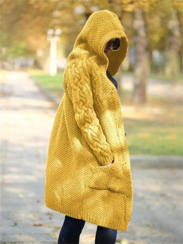 Super Warm Knitted Solid Color Buttoned Long-Sleeved Hooded Sweater