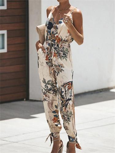 Sexy Lace-Up Design Printed Pocket  V-Neck Spaghetti Strap Jumpsuit