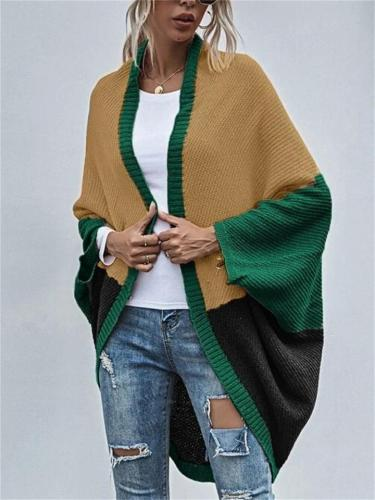Casual Contrast Color Design Bat Sleeve Cardigan Knitted Coat