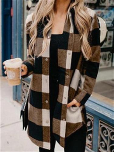 Women's Pretty Check Print Lapel Long Sleeve Top