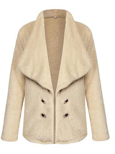 Women's Solid Color Lapel Long Sleeve Plush Coat