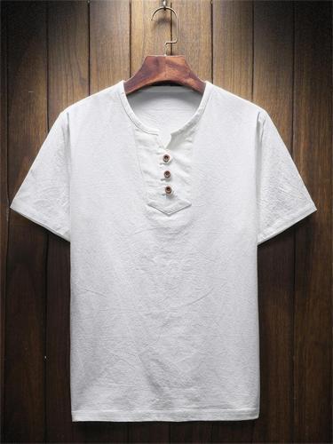 Men's Summer Solid Color Casual V-Neck Short-Sleeved T-Shirt