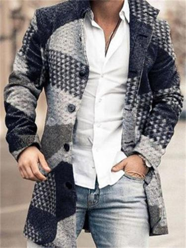 Men's Fashion Contrast Design Woolen Stand Collar Mid-Length Casual Coat With Pockets