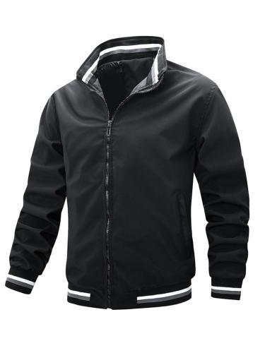 Men's Casual Sports Zipper Design Stand Collar Jacket