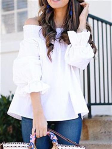 Women's Sexy Back Tie Design Solid Color Off Shoulder 3/4 Sleeve T-Shirt