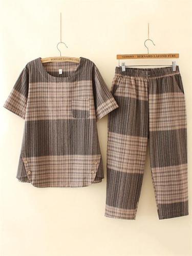 Summer Contrast Color Design Plaid Print Loose Short-Sleeved Crewneck Top + Casual Pants