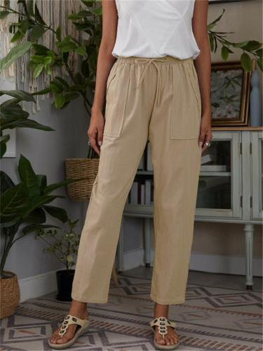 Loose Solid Color Elastic Waist Cotton Casual Cropped Trousers With Pockets