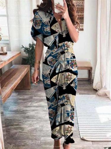 Stylish Front Lace-Up Design Short-Sleeved Printed Elegant Dress