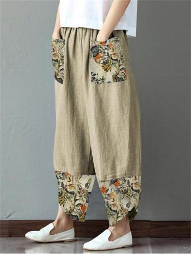 Women's Creative Print Patchwork Wide Leg Loose Pants