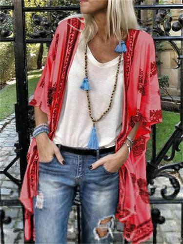 Fashion Mid-Length All-Over Print HalfSleeve Top
