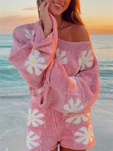Fashion Casual All-Over Floral Print Knitted Sweater + Comfy Shorts