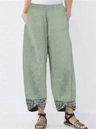 Casual Patchwork Printed Elastic Waist Loose Pants