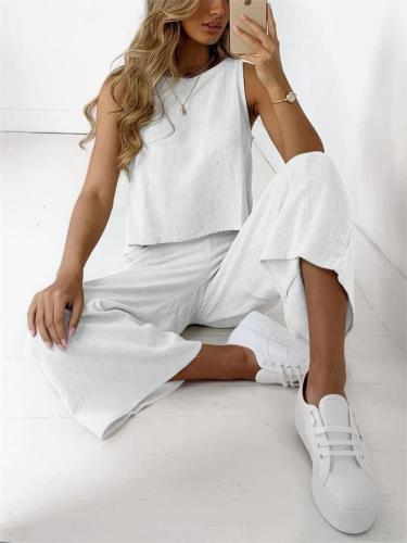 Casual Sleeveless Solid Color Round Neck Comfy Top + Wide Leg Pants