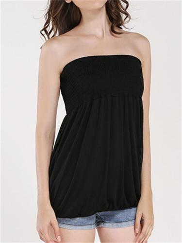 Women's Sexy Sleeveless Solid Color Off-ShoulderPullover Top