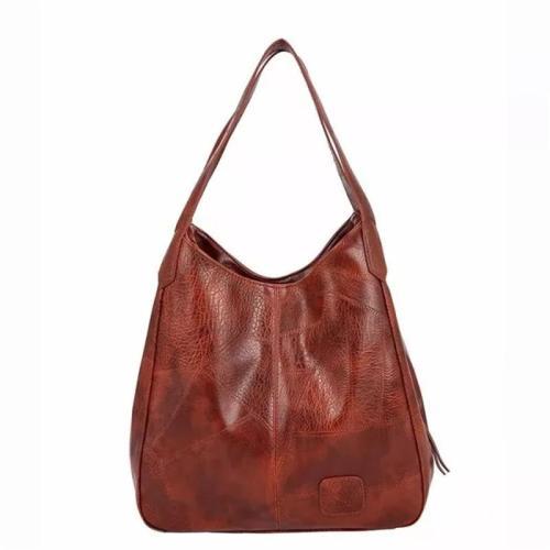 Vintage Style Two Top Handle Textured Waterproof Spacious Interior Shoulder Bag