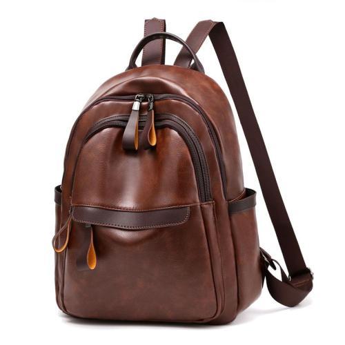 Vintage Style Dual Zip Fastening Large Capacity Top-Handled Adjustable Shoulder Strap Backpack