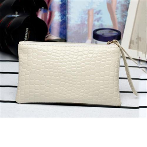 Soft Touch Crocodile-Effect Zip Fastening Clutch Bag Handled Wallet Phone Holder