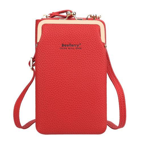 Casual Style Multiple Compartment Grain Textured Detachable Shoulder Strap Wallet Phone Holder