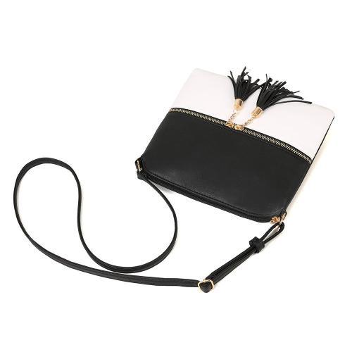 Minimalist Style Fringed Decoration Adjustable Shoulder Strap Zip Fastening Crossbody Bag