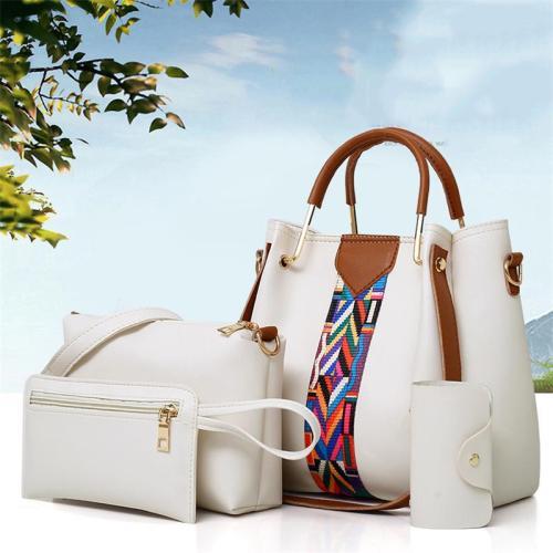 4-Piece Set Patchwork Design Large Capacity Clutch Bag Tote Bag Crossbody Bag