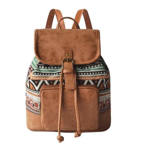 Ethnic Style Geometric Print Adjustable Strap Durable Drawstring Lightweight Backpack