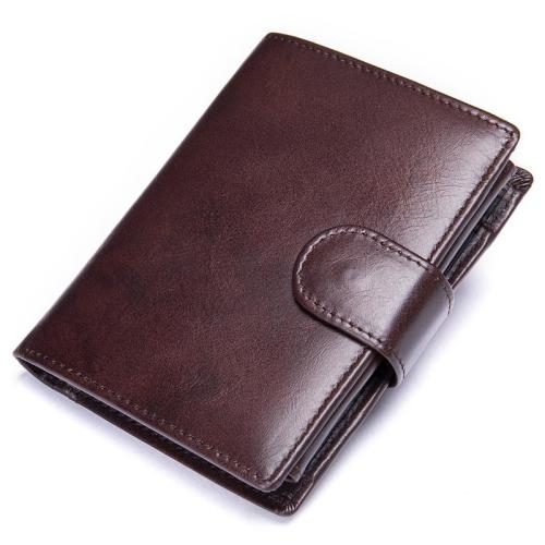 Men's Leather Folding Design Retro RFID Blocking Wallet
