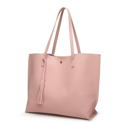 Casual Style Fringed Decoration Clasp Fastening Large Capacity Tote Bag Shoulder Bag